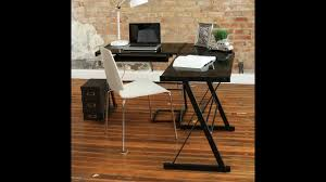 review walker edison soreno 3 piece corner desk black with black glass