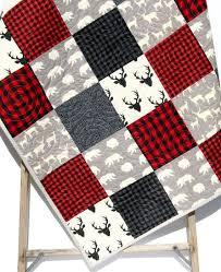 Best 25+ Plaid quilt ideas on Pinterest | Gingham quilt, Quilts ... & Buffalo Plaid Quilt Elk Deer Bear Baby Blanket Toddler Bedding Woodland  Animals Modern Lumberjack Plaid Check Red Black Gray Nursery Blanket Adamdwight.com