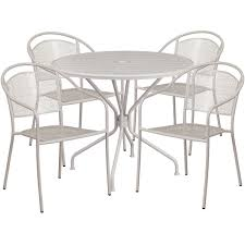 35 25 round light gray indoor outdoor steel patio table set with 4 round