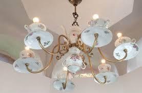 reuse old porcelain teacups ideas creative diy chandelier