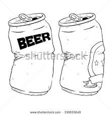 can clipart black and white. black and white of two broken beer cans drink with doodle or sketchy style can clipart