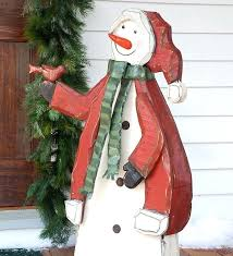 large yard decorations large wooden indoor or outdoor snowman hand large front yard decorations