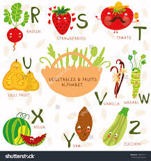 stock vector vector illustration of fruit and ve ables a b c d e f g h letters radish strawberries
