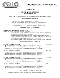 Relevant Experience Resumels Cna Chronological Template With And