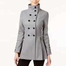 calvin klein stand collar skirted peacoat