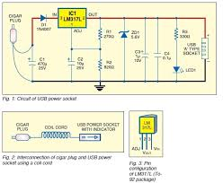 usb dc power supply from cigar lighter socket usb power socket circuit diagram
