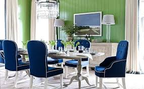 navy blue leather dining room chairs out in your new green wall with and white table