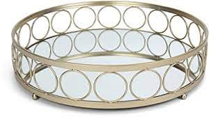 Anniesonlineshop 4.5 out of 5 stars (75) Amazon Com Rutledge King Ottoman Tray Gold Mirror Tray Decorative Round Metal Tray Ornate Coffee Table Tray Serving Tray Chantilly Designer Tray Large Home Kitchen