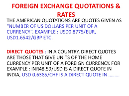 Direct Quotes Foreign Exchange Rates Quotes