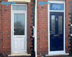 before and after of a recent door job new glass with house number etched in fitted above the door the door was also replaced with a much more safe and