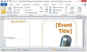 word microsoft templates free event program template for word