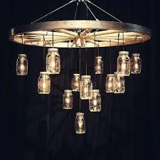 wagon wheel chandelier with mason jars best wagon wheel chandelier ideas on wagon wheel intended for