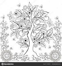 図面の手花とりんごの木春大人のぬりえ本 ストックベクター