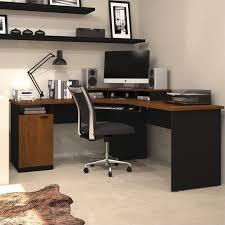 bestar hampton wood home office corner computer desk in tuscany brown