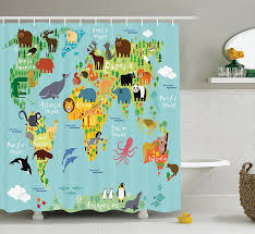 com wander shower curtain decor by ambesonne animal map of the world for children and kids cartoon mountains forests image polyester fabric