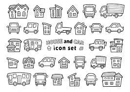 車と家のアイコンセット手書風線画のみ上弦バージョン イラスト素材