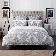 sheridan white grey cotton foliage kingsize duvet cover set