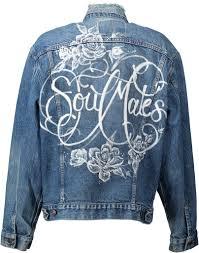 """Sage"" 'Soulmates' <b>Hand painted vintage</b> denim jacket   Katharine Polk"