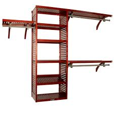 h deep deluxe wood closet system in red mahogany