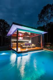 Outdoors:Ultra Modern Pool House With Unique Design And Awesome Pool  Stuning Pool House With