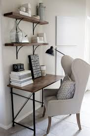saveemail industrial home office. Home Decorating Ideas - Small Office Desk In Rustic Industrial Glam Style. Wingback Chair, Simple Wood And Metal Frame Desk, Shelves With Black Saveemail 1