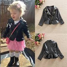 cool toddler baby girls autumn winter leather long sleeve coat outerwear jacket