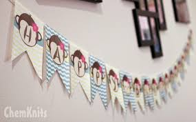 The Mama mentioned that they were having a Monkey themed birthday party so  I decided to make a Monkey Banner to hang in my own home to celebrate with  them ...