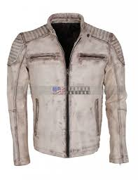 Discount Designer Mens Leather Jackets Vintage Italian White Grey Waxed Genuine Leather Mens Jacket