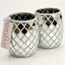 mosaic mirrored silver glass tealight candle holders zoom
