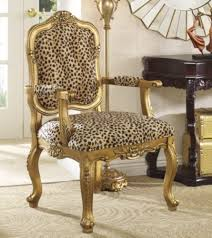 Cheetah Skin Print Carved Wood Chair