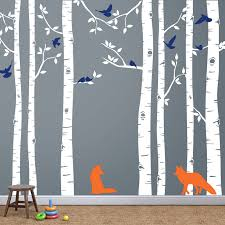 fox and birch tree wall decal 3 colors