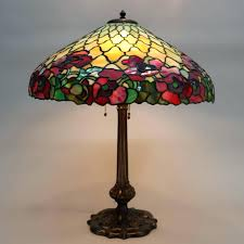 duffner and kimberly lamp antique and leaded stained glass lamp features a parasol shape shade in
