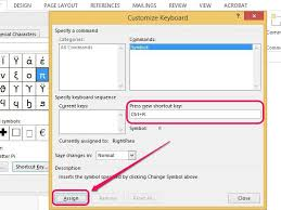 word assigns the keyboard shortcut