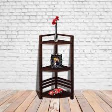 astute corner shelf stand in mahogany finish