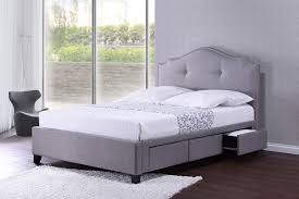 King Bed White Metal Bed Frame Queen Double Bed Base With Storage ...
