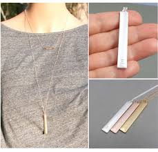 long bar pendant necklace personalized initial necklace pendant necklace silver gold rose gold layer initial necklace mother s day gifts