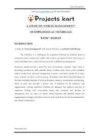 Syndicate Bank A Study On Stress Management At Syndicate Bank