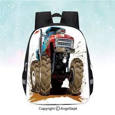Backpack Graphic Design Amazon Com Travel Backpack Monster Truck Splashing Mud