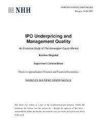 IPO underpricing and management quality   an empirical study of     bibsys brage