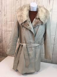 wilson s women s vintage leather jacket hood faux fur belted bone hue