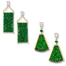 fine carved green jadeite jade drop earrings natural red