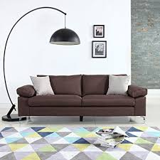 low profile sofa. Wonderful Sofa Modern Linen Fabric Sofa Low Profile Living Room Couch Brown For L