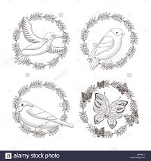 set drawing wreath decoration flowers a