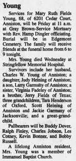 Obituary for Mary Ruth Fields Young (Aged 68) - Newspapers.com