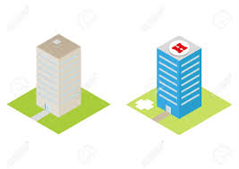Hospital Heliport Design Isometric Hospital With A Heliport And Commercial Buildings Vector