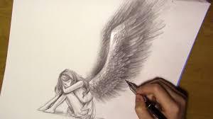 Angel Sketch Drawing Angel Wings Fallen Angel Timelapse
