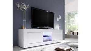 Meuble Tv Design Lumineux Blanc Collection Azzura 2 Portes Et 2