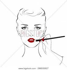 woman face with red lips and beautiful eye makeup and hand with makeup brush vector fashion ilration hand drawn line art sketch banner background