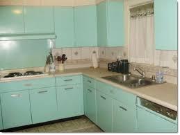 Vintage 1940s Kitchen With Popular Aqua Turquoise Metal Aluminium