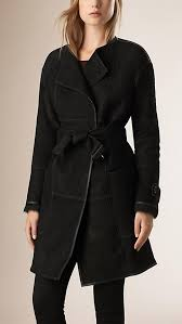 long wrap leather black shearling coat womens